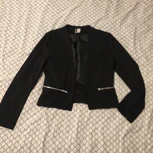 H&M Black Blazer with zipper detailing